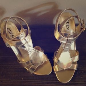 Gold Guess Wedges with Cork Heel.